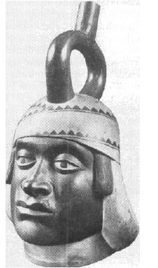 Рис. 61. Мочика. Голова воина. Культовый сосуд. Керамика.