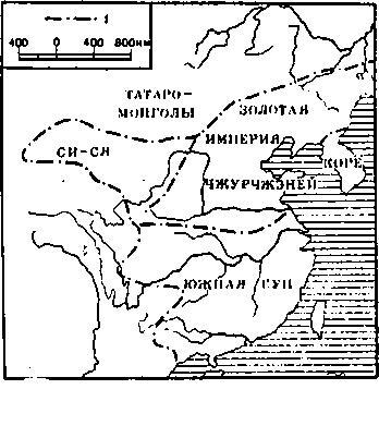 Политико-административная карта империи Цзинь. Условные обозначения: 1 — государственная граница