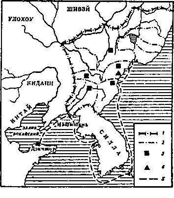 Государство Бохай. Условные обозначения: 1 — государственная граница; 2 — административные границы; 3 — столицы; 4 — морской порт; 5 — морской путь