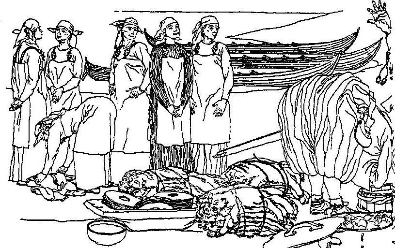 """Рис. 48. Молитва купца-""""русса"""". Реконструкция по описанию Ибн-Фадлана, выполненная Б. Аьмгреном."""