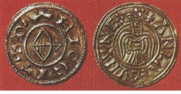 Серебряные монеты, отчеканенные в Йорке в период господства в Северной Англии датских викингов