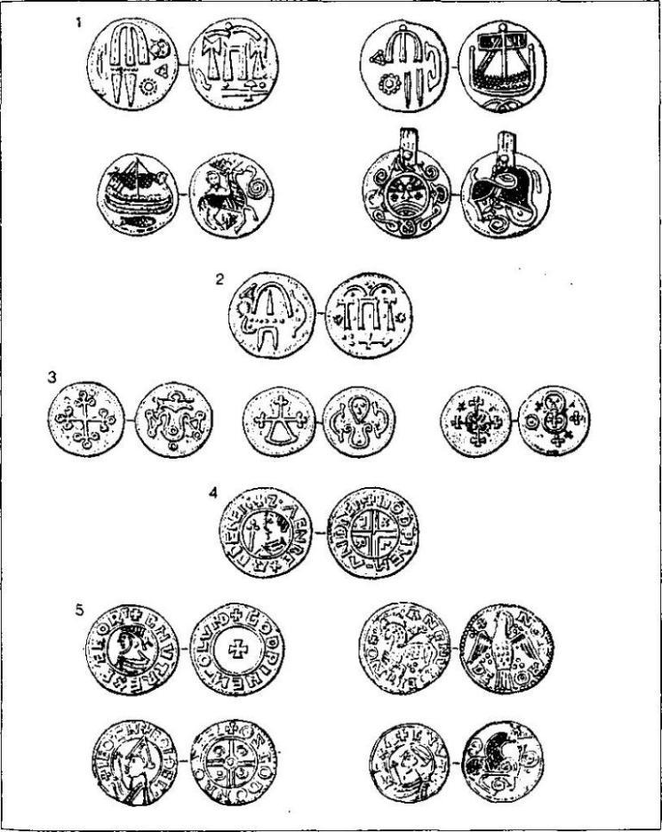 Рис. 51. Датские монеты эпохи викингов (по К. Рандсборгу) 1 — «монеты Хедебю» первой половины IX в.; 2 — «полубрактеат Хедебю» первой половины Хв.; 3 — «крестовый тип», около 975 г.; 4 — монета конунга Свейна Вилобородого (ок. 987—1014); 5 — монеты Кнуда Могучего (1018[1014]— 1035), чеканка в Лунде, Роскильде и, возможно, Хедебю