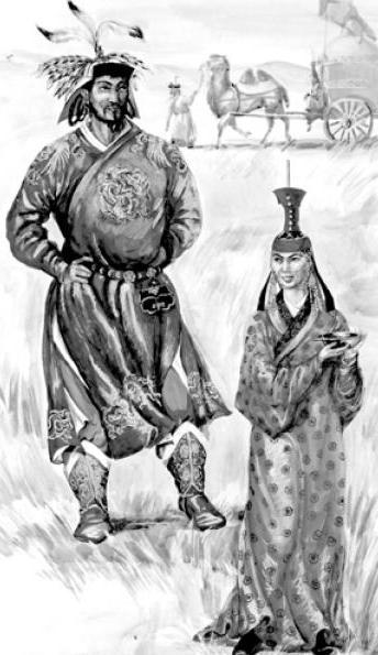 Рис. 5.4.Знатные монголы периода Великой империи. (по М.В. Горелику)