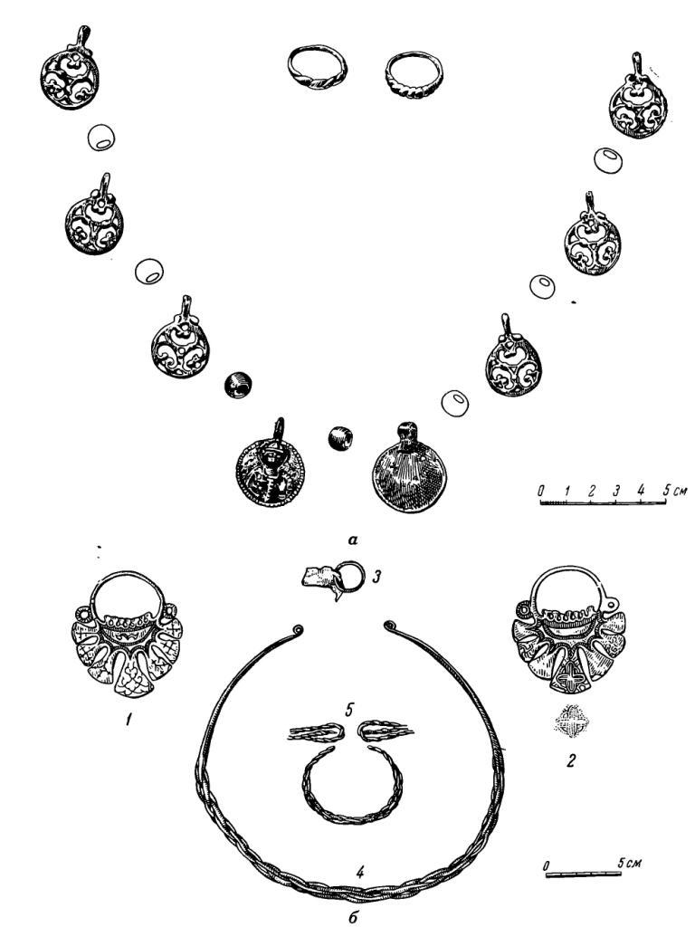 Рис. 13. Вещи из курганов XIII—XIV вв. а - у ст. Яуза: ожерелье и перстни; 6 — у дер. Зюзино: 1—2 — височные кольца; 3 — колечко; 4 — гривна; 5 — браслет