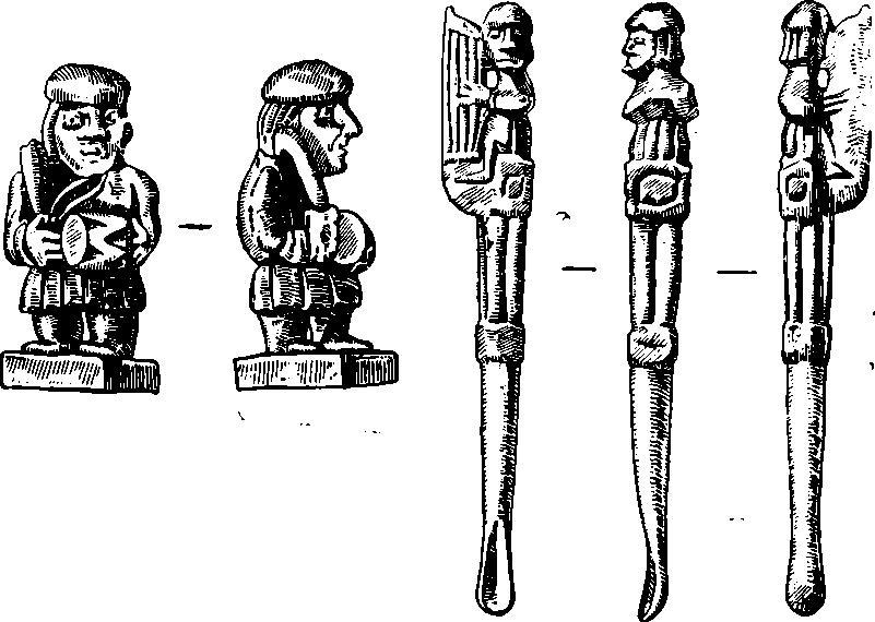 Рис. 1. Фигурки с изображением музыкантов 1 — Волковыск; 2 — Новогрудок