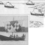 Рис. 7. Корабли викингов, покидающие побережье Скандинавии (по Б. Альмгрену). Во главе дружин викингов, представляющих собой довольно крупные объединения в 100-150 кораблей (до 6-10 тыс. воинов), стоят хорошо известные современникам вожди. Слева: реконструкция ладьи викингов, 1981 г.
