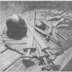 Рис. 78. Типичный набор оружия эпохи викингов В комплекс входили: шлем, щит, кольчуга, копье, меч и боевой топор (ср. табл. 4)