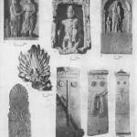 Таблица CXXVIII. Типы надгробий V—I вв. до н. э. 1 — надгробие второй половины V в. до н. э., Пантикапей; 2 — акротерий из Фанагории, IV в. до н. э.; 3—5 — Херсонес (3 — стела Мегакла, 4 — стела Геро, 5 — стела Полнкасты); в — надгробие с изображением супружеской пары, III в. до н. э., Пантикапей; 7 — надгробие синда, III в. до н. э., Ахтанизовский лиман; 8 — надгробие Психарионы, жены Маса, I в. н. э., Пантикапей. Составитель М. М. Кобылина