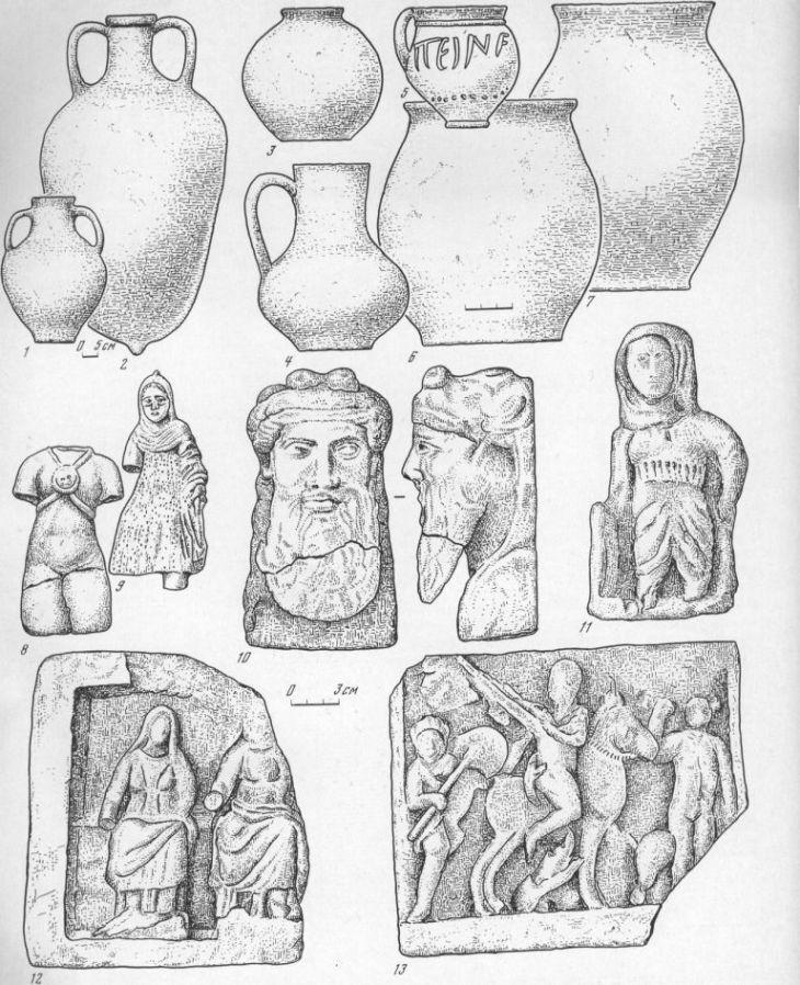 Таблица II. Находки из Тиры 1—7 — глиняные сосуды из помещения 24; 8, 0 — терракотовые статуэтки; 10—12 — памятники скульптуры из поме- щения 24; 13 — рельеф из помещения 29. Составитель В. И. Денисова-Пругло