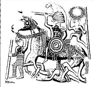 Рис. 110. Накладка со шлема из погребения в Вальсъерде 8