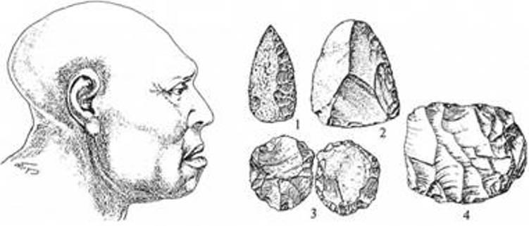 Рис. 4. Неандертальська жінка з печери Ля Юна (Франція) та крем'яні вироби мустьєрської доби: 1 - гостроконечник; 2 — скребло; нуклеуси: 3 — дископодібний; 4 — підпризматичний