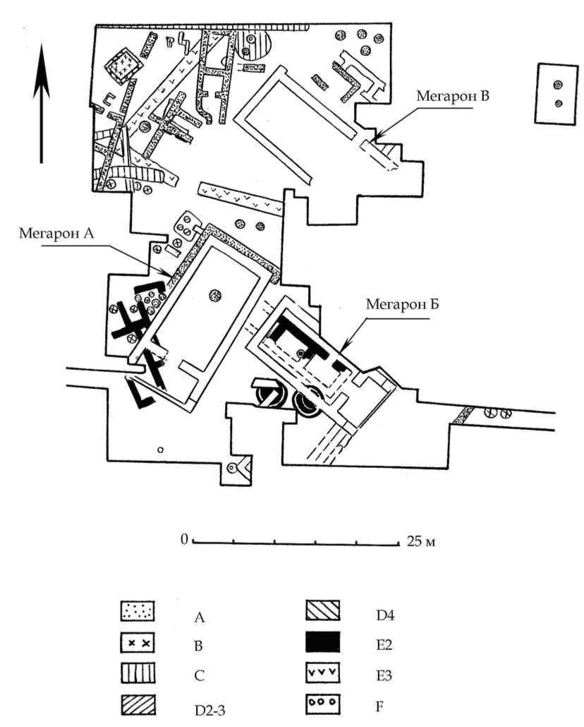 Рис. 10. 1 — План раскопа Д. А-F — горизонты