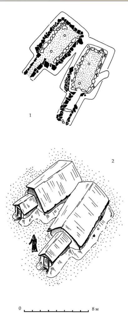 Рис. 100. Землянки №№ 1 и 2 горизонта С под зольником № 3. 1 — план. 2 — вариант реконструкции