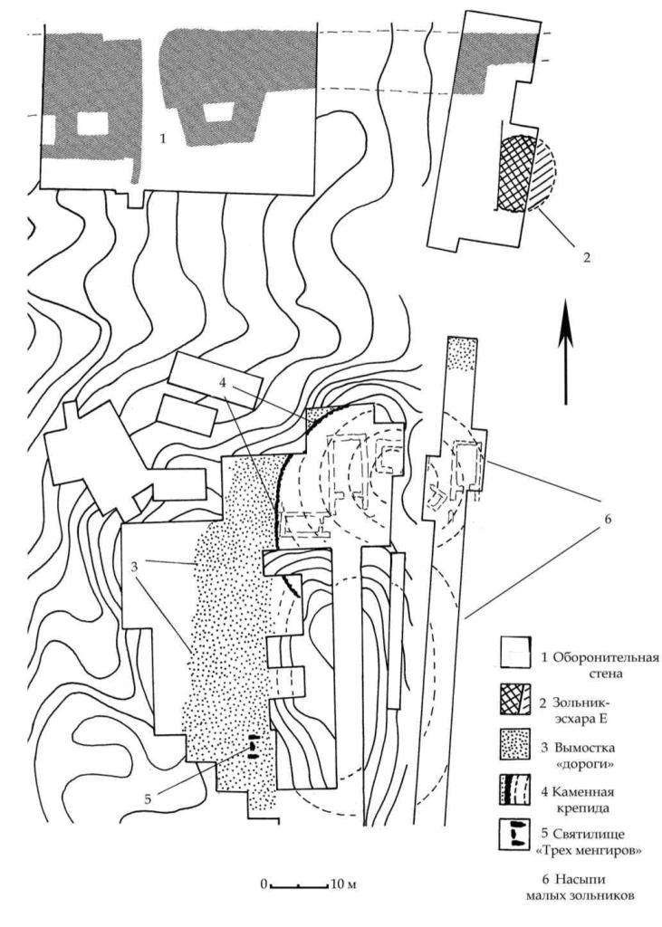 Рис. 105. План расположения объектов горизонта В на раскопах зольника № 3