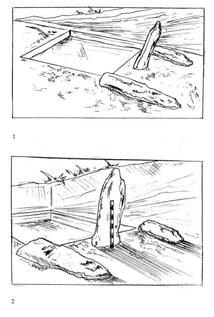 Рис. 106. Святилище Трех менгиров подгоризонта В2 на зольнике № 3. Прорисовки по фотографиям 1979 г.