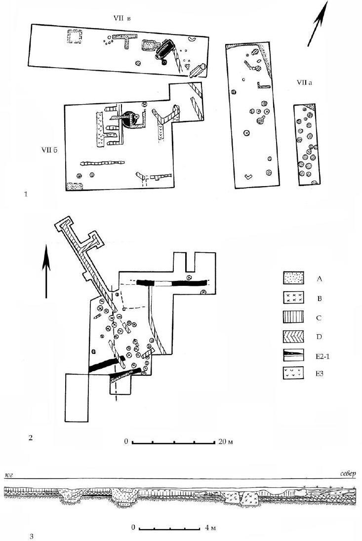 Рис. 11. 1 — план раскопов УНа, VII6, УПв. 2 — план раскопа 1. 3 — стратиграфия раскопа 1. А-Е — горизонты