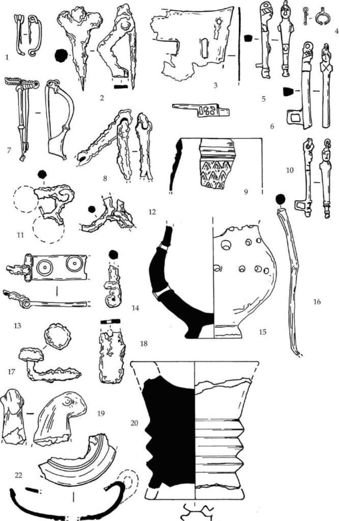 Рис. 111. Находки из зольника Е горизонта В. 1, 2, 8 — фибулы. 3, 5-7, 11 — бронзовые детали шкатулок. 4 — золотая подвеска. 9, 12, 13, 15, 18-19 — фрагменты железных предметов. 10 — фрагмент рельефного сосуда с зеленой поливой. 11 — бронзовый щиток пряжки. 16 — лепная курильница. 17 — бронзовый стержень. 20 — фрагмент лепной зооморфной фигурки. 21 — курильница из мела. 22, 24 — фрагменты костяных пиксид. 23 — фрагменты краснолакового светильника