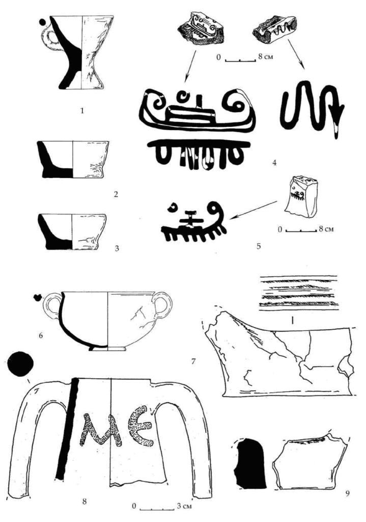 Рис. 114. Некоторые находки горизонта В из разных раскопов. 1-3 — лепные сосуды, найденные вместе в СВ части раскопа А-Б-В. 4 — фрагмент черепицы с изображениями черной краской (сажа) из зольника № 3 горизонта В. 5 — точильный камень с изображением, нанесенным черной краской (сажа) из зольника № 3 горизонта В. 6-9 — находки из ямы № 31 раскопа А-Б-В: краснолаковый сосуд (6), фрагменты зооморфных лепных фигур (7, 9), и горловина амфоры с дипинти красной краской (8)