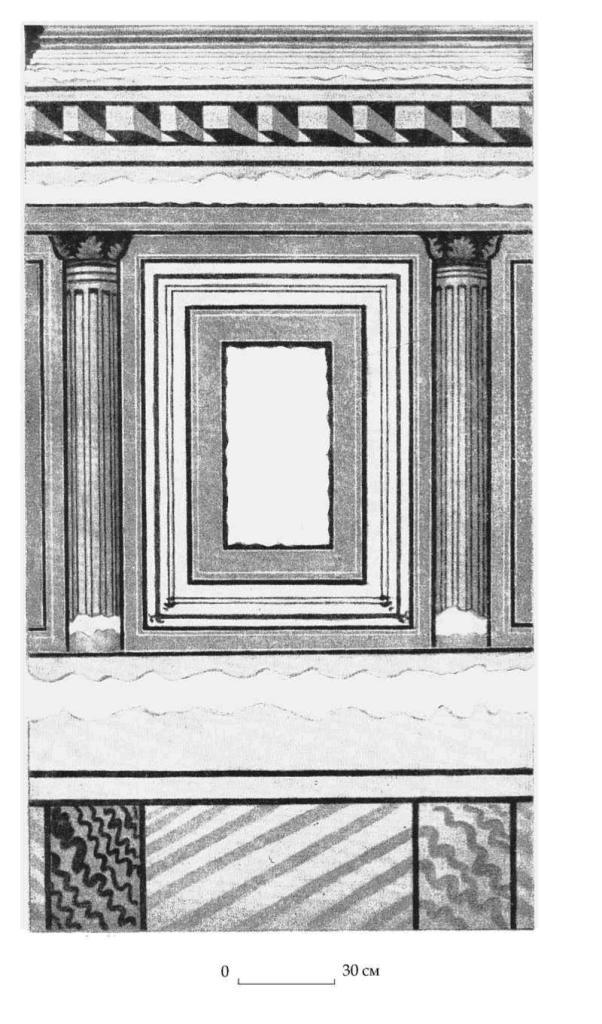 Рис. 115. Реконструкция фресковой росписи мегарона А горизонта В (по И. В. Яценко, 1960)