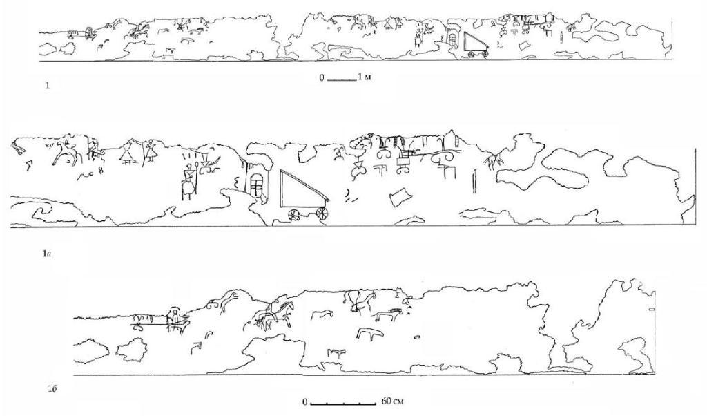 Рис. 116. Граффити на западной стене мегарона А горизонта Б (по О. Д. Дашевской, 1962)