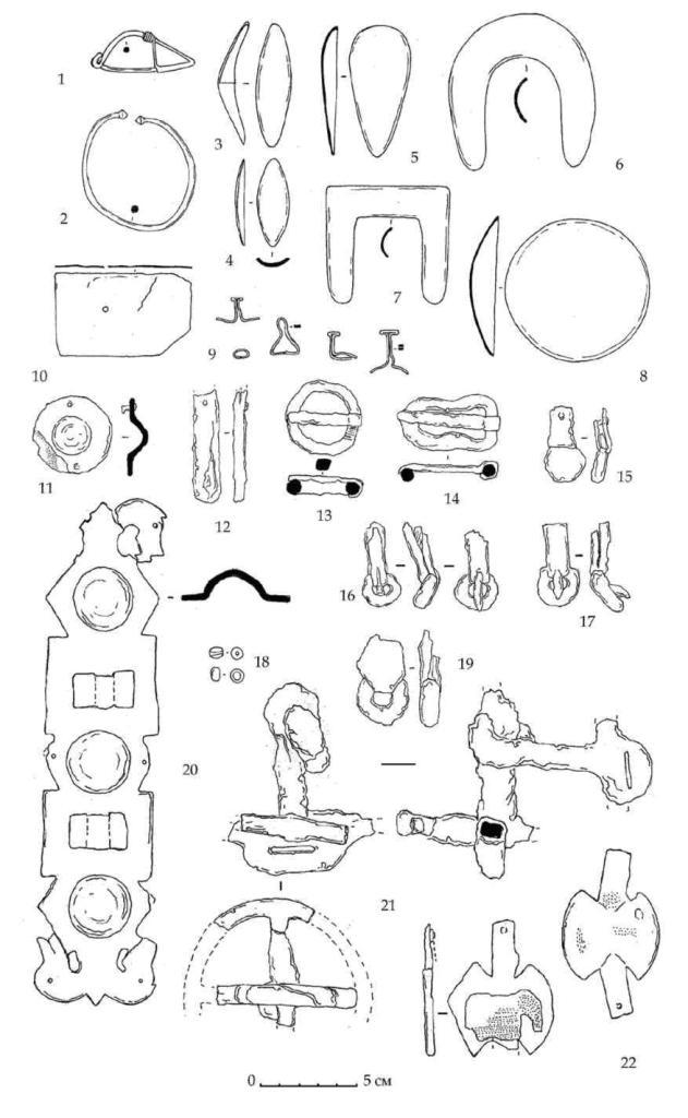 Рис. 118. Некоторые находки из скальной могилы горизонта В на раскопе А-Б-В