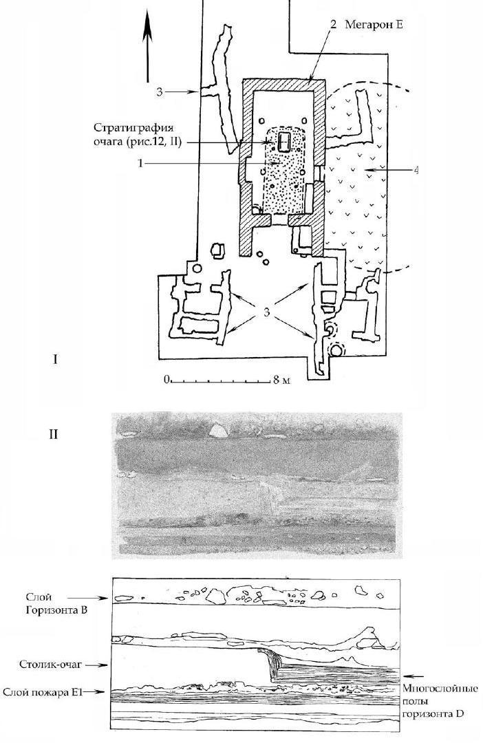Рис. 12. I. Планраскопа Е: 1 — постройка горизонта Е. 2 — мегарон Е. 3 — постройки горизонта С. 4 — зольник горизонта B. II. Стратиграфия участка мегарона Е. Акварель 1958 г. и прорисовка акварели