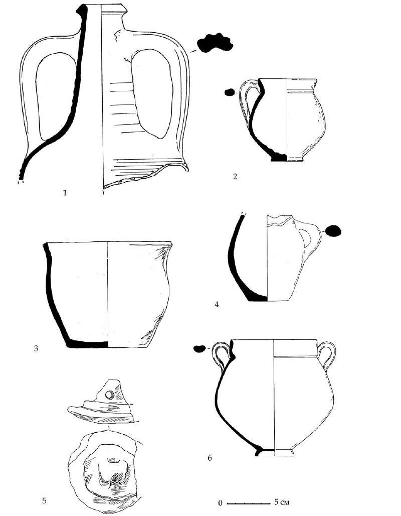 Рис. 129. Амфора, краснолаковые и лепные сосуды из раскопа А-Б-В. Горизонт А