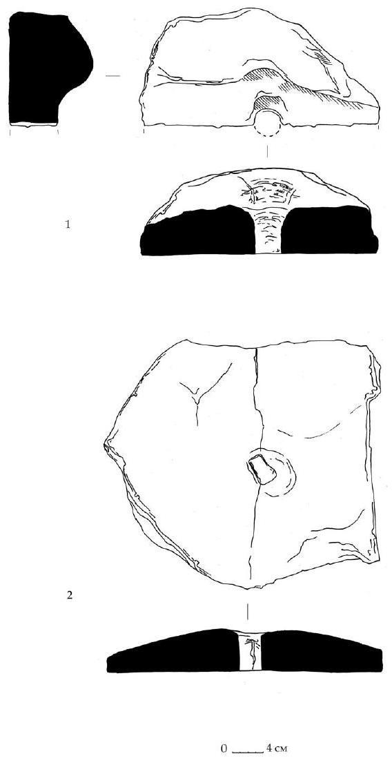 Рис. 133. Фрагменты каменных жерновов из раскопа А-Б-В. Горизонт А.