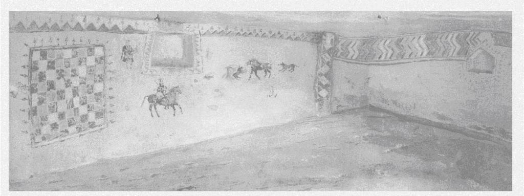 Рис. 136. Склеп № 9 Восточного некрополя. Интерьер. Акварель О. И. Домбровского. 1946 г.