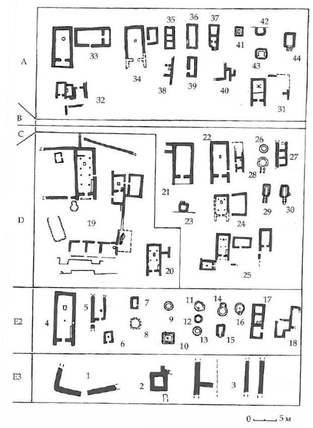 Рис. 14. Типы построек. 1- ограда на раскопе Д, 2 - башня в Северной траншее, 3 - остатки кладок в раскопе VII6, 4 - мегарон Н, 5 - постройка к западу от мегарона Н, 6 - постройка к востоку от мегарона Н, 7 - постройка в раскопе УПв, 8 - основание юрты в раскопе Ж, 9 - полуземлянка в Северной траншее, 10 - полуземлянка в раскопе Д, 11 - 14 - полуземлянки в раскопе А - Б - В, 15 - полуземлянка в раскопе VIIв, 16 - полуземлянка в раскопе VII6, 17, 18 - наземные дома в раскопе Д, 19 - комплекс Южного дворца, 20 - мегарон Е, 21 - мегарон А, 22 - мегарон В, 23 - полуземлянка на раскопе Е, 24 - мегарон О, 25 - комплекс мегаронов З, К, Л, 26 - землянка на раскопе Д, 27 - наземная постройка на раскопе VII6, 28 - полуземлянка на раскопе «Сектор 9», 29, 30 - полуземлянки под насыпью зольника № 3, 31 - мегарон И, 32 - комплекс мегарона Н, 33 - мегароны А и Б, 34 - Мегарон В, 35, 37, 40 - постройки на раскопе Д, 36, 38 - постройки на раскопе А-Б-В, 39 - постройка на раскопе «Сектор 9», 41 - полуземлянка на раскопе Д, 42 - полуземлянка на раскопе VI, 43 - полуземлянка на раскопе «Зольник № 3», 44 - полуземлянка на раскопе VIIв. А-Е — горизонты.