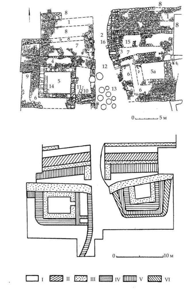 Рис. 18. Узел центральных ворот (по С. Г. Колтухову, 1999). 1 — стена первого строительного периода. 2 — воротный проем. 3 — пилоны (основание башни). 4 — протейхизма. 5 — мавзолей. 5а — восточная башня. 6 — противотаранные пояса башен. 7 — перибол. 8 — дополнительные пояса основной стены. 9 — дополнительный пояс протейхизмы. 10 — «дворик» перед входом в башню-мавзолей. 11 — стена, сооруженная после засыпки «дворика». 12 — воротный проем в протейхизме. 13 — хозяйственные ямы перед городскими воротами. 14 — лестница мавзолея. 15 — пояс, сооруженный в периболе. 16 — кладка, сузившая воротный проем и закрывшая восточный вход в перибол. I-VI — строительные периоды