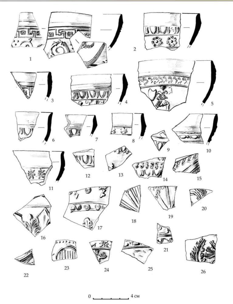 Рис. 20. Фрагменты мегарских чаш из пригородного зольника подгоризонтов Е3-Е2. Раскопки 1988 г.