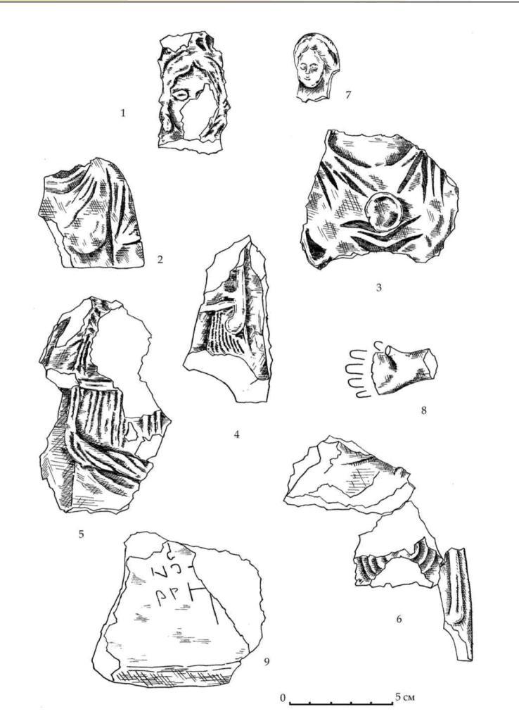 Рис. 21. Фрагменты терракот из пригородного зольника подгоризонтов Е3-Е2 (1-6) и подгоризонта Е1 (7-8). Фрагмент красной штукатурки с граффити из слоя пожара 1 (9)