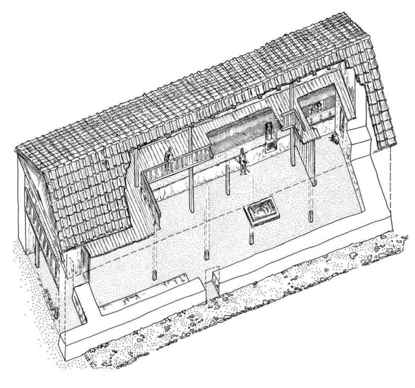Рис. 28. Вариант реконструкции мегарона Н Южного дворца