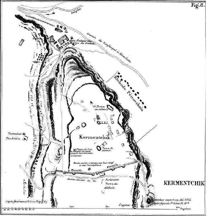 Рис. 3. План городища, составленный Ф. Дюбуа де Монпере