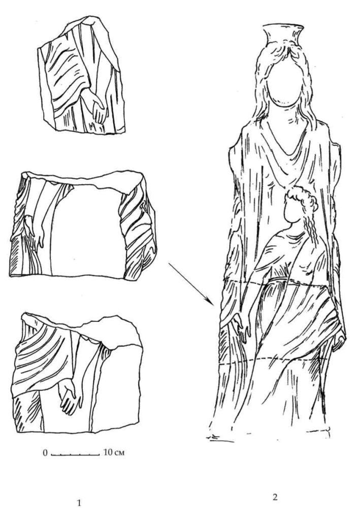 Рис. 31. Фрагмент мраморной призматической гермы Гекаты (1) и вариант ее реконструкции (2). Мегарон Н Южного дворца