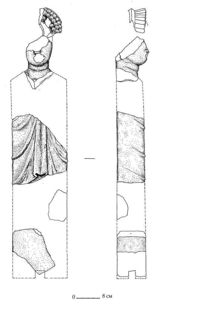 Рис. 32. Известняковая герма женского божества из мегарона Н Южного дворца