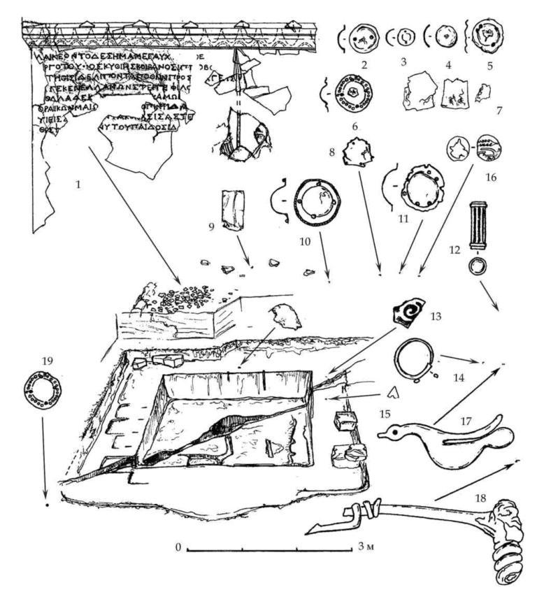 Рис. 37. Расположение находок вокруг скального котлована. 1 — фрагменты плиты с надписью и рельефом, 2-15 — золотые предметы, 16 — бронзовая монета, 17 — костяная пластинка, 18 — бронзовая фибула