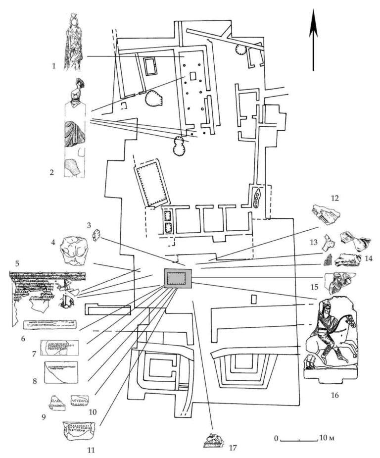 Рис. 38. Обозначение мест находок рельефов, надписей и фрагментов скульптуры на плане Южного дворца