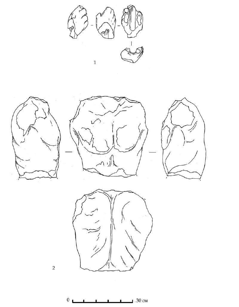 Рис. 44. Фрагменты мраморных статуй из раскопок Южного дворца. 1 — кисть женской руки. 2 — мужской торс