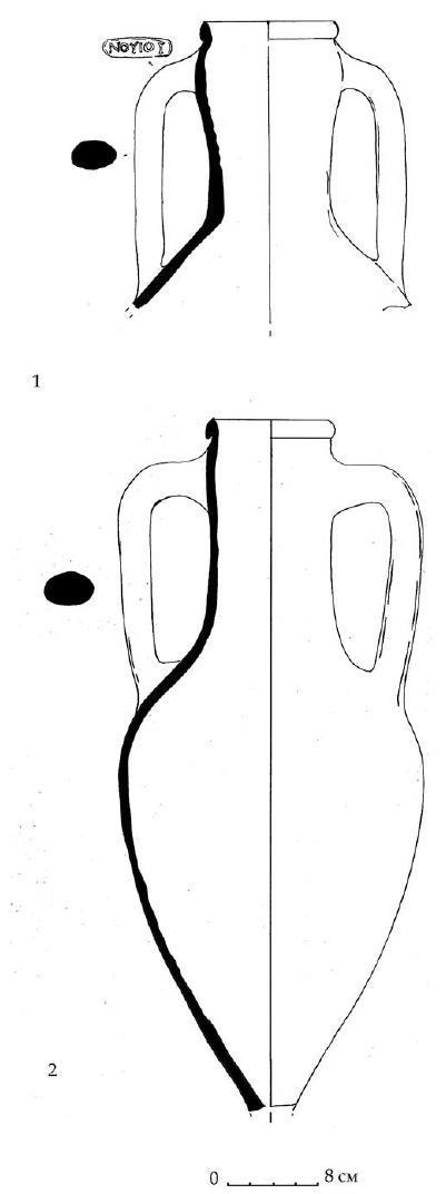Рис. 54. Синопские амфоры. 1 - раскоп VII, 2 - ямка 42 мегарона H, Южный дворец.