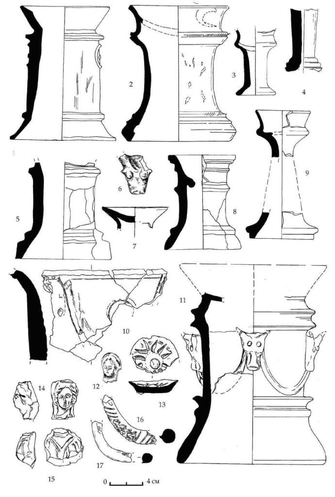 Рис. 62. Керамические алтари и их фрагменты горизонтов E-D из Южного дворца