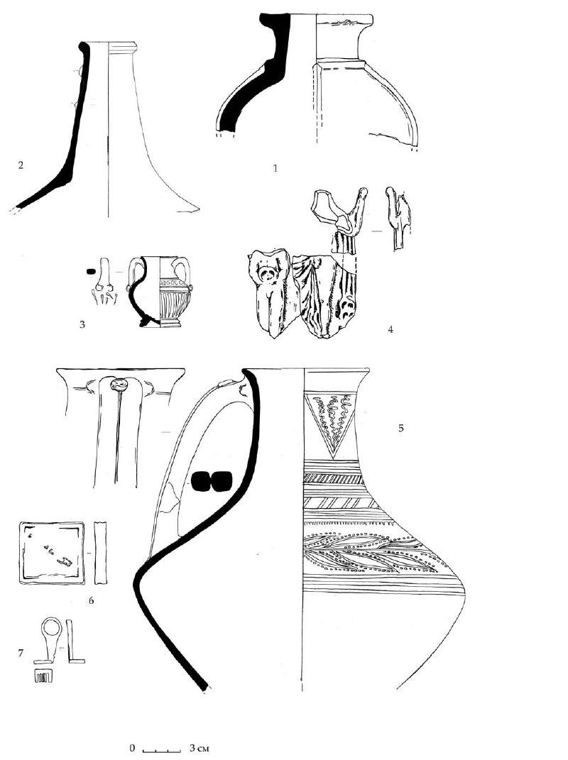 Рис. 64. Закрытый комплекс подгоризонта D1 из «Восточного дома» Южного дворца. 1 — верхняя часть лепной курильницы. 2 — горло лягиноса. 3 — миниатюрная амфора. 4 — терракота Афродиты с Эротом. 5 — расписной кувшин-лягинос. 6 — свинцовая гиря. 7 — бронзовый ключ
