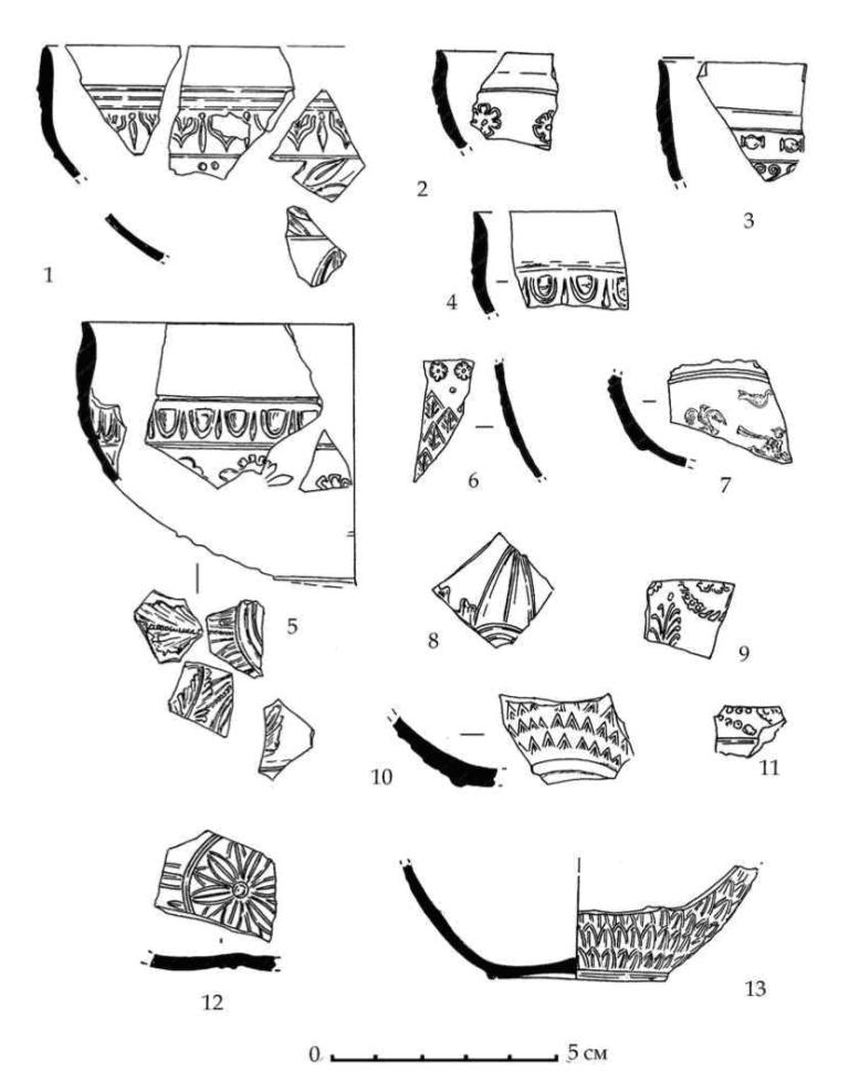 Рис. 65. Фрагменты мегарских чаш горизонта E-D из Южного дворца. Раскопки 1992-1993 г.