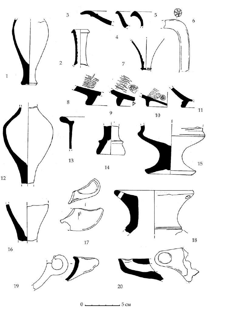 Рис. 66. Некоторые находки горизонта Е из раскопа Д.