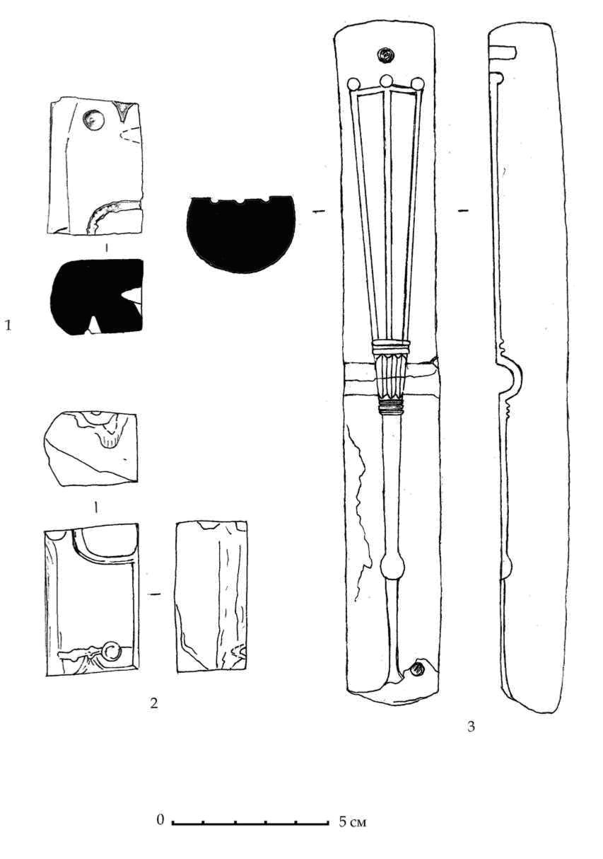 Рис. 68. Литейные формы из ручек родосских амфор горизонтов E-D. 1, 2 — раскоп Б. 3 — раскоп Е