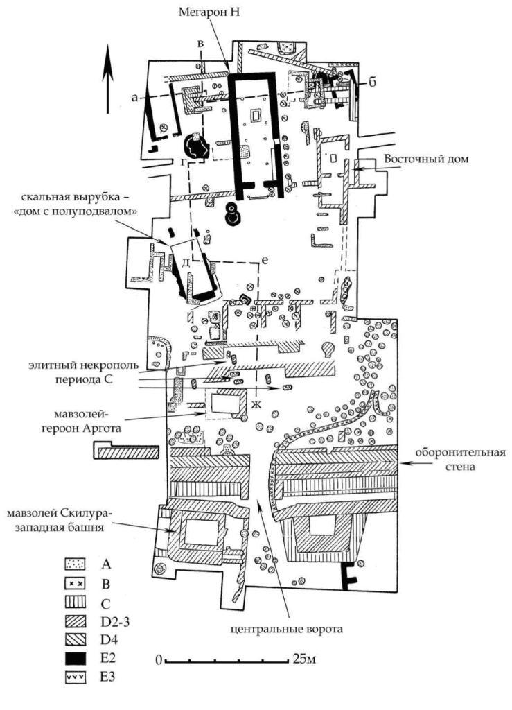 Рис. 7. План раскопа А-Б-В. А-Е — горизонты