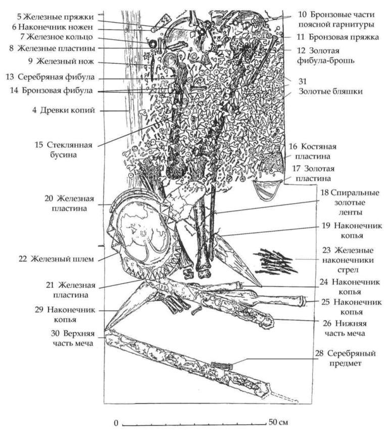 Рис. 76. Каменная гробница мавзолея. План погребения. Деталь