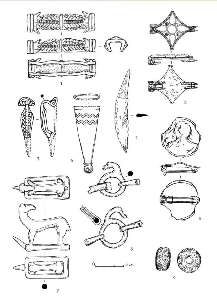 Рис. 80. Находки из каменной гробницы мавзолея