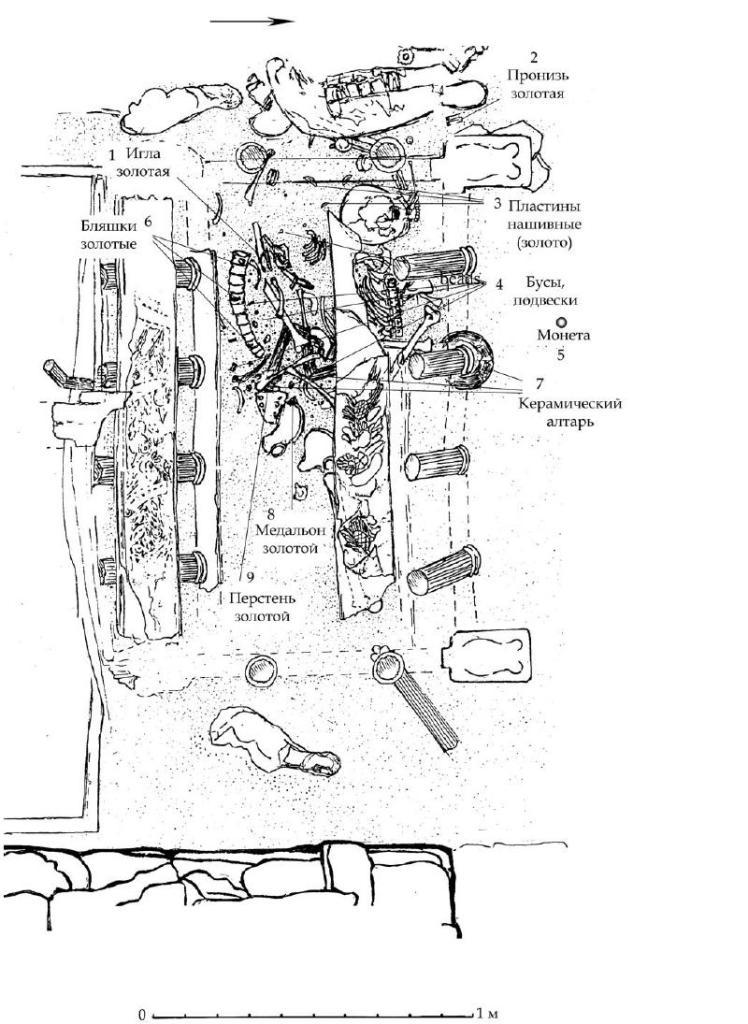 Рис. 83. План расположения остатков тронного ложа из мавзолей с обозначением находок и костных останков